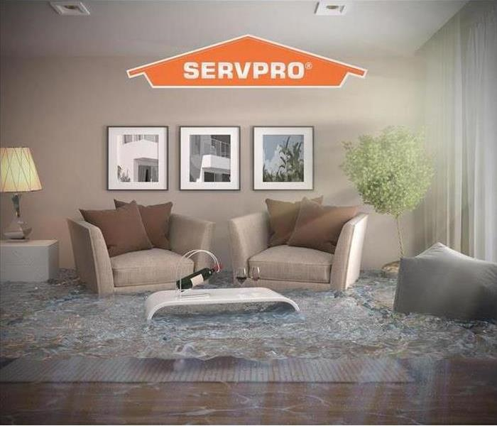 SERVPRO logo with living room furniture under water