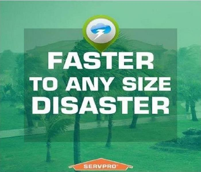 SERVPRO Logo stating we respond faster to any disaster